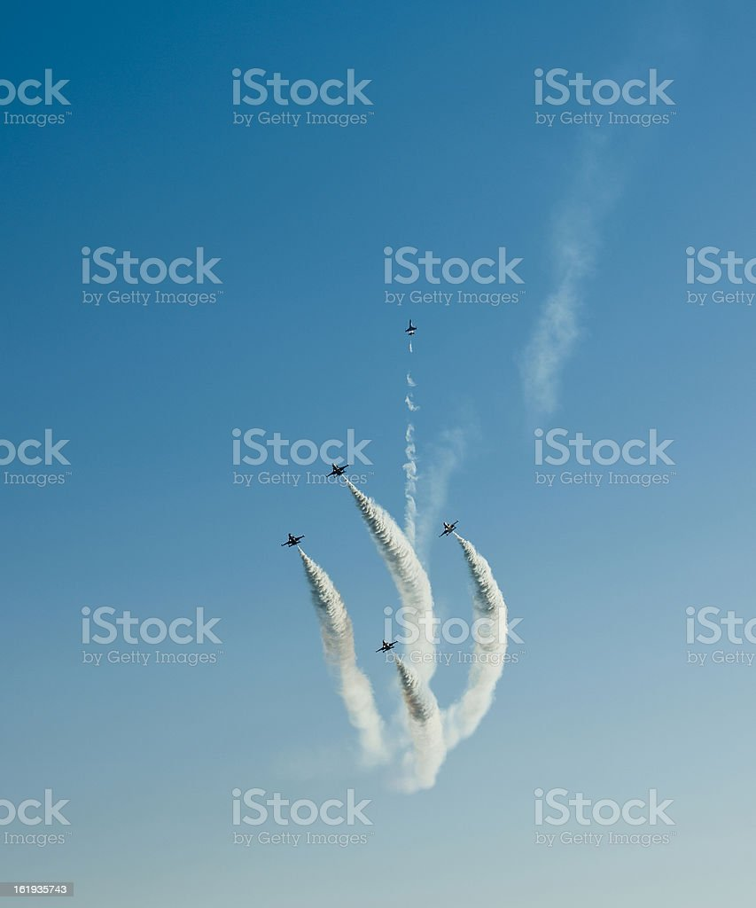 Jet planes contrail royalty-free stock photo