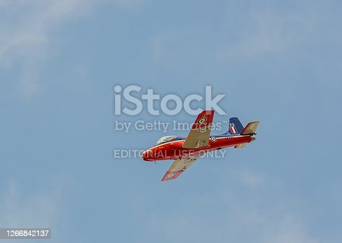 Duxford, Cambridgeshire / UK - September 2014: A BAC Jet Provost trainer aircraft used by the Royal Air Force from 1955 to 1993