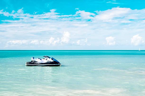 Jet Ski Moored in the Caribbean Sea stock photo