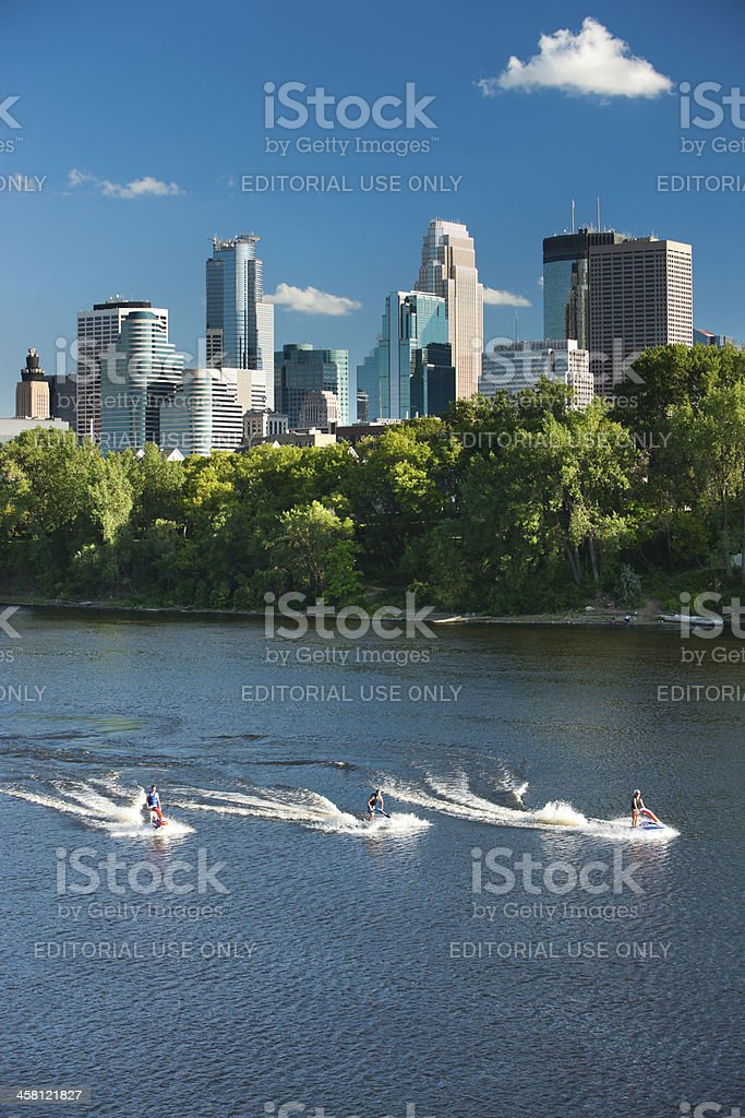 Jet skiers on the Mississippi in Minneapolis, Minnesota. royalty-free stock photo