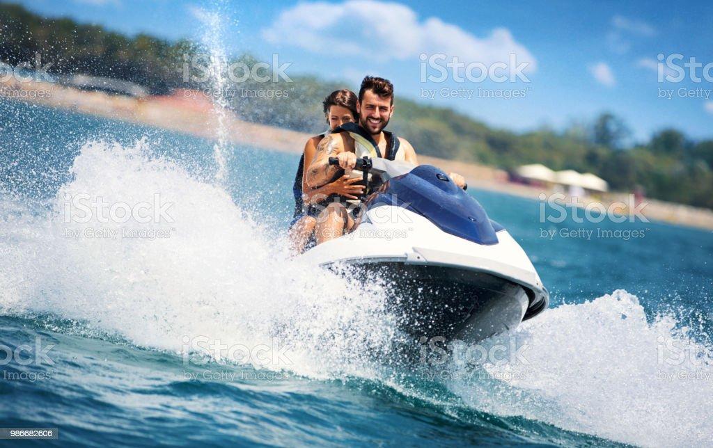 Jet skiing. stock photo