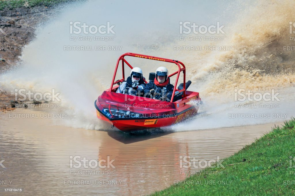 Jet Sprint Boat runs a timed event stock photo