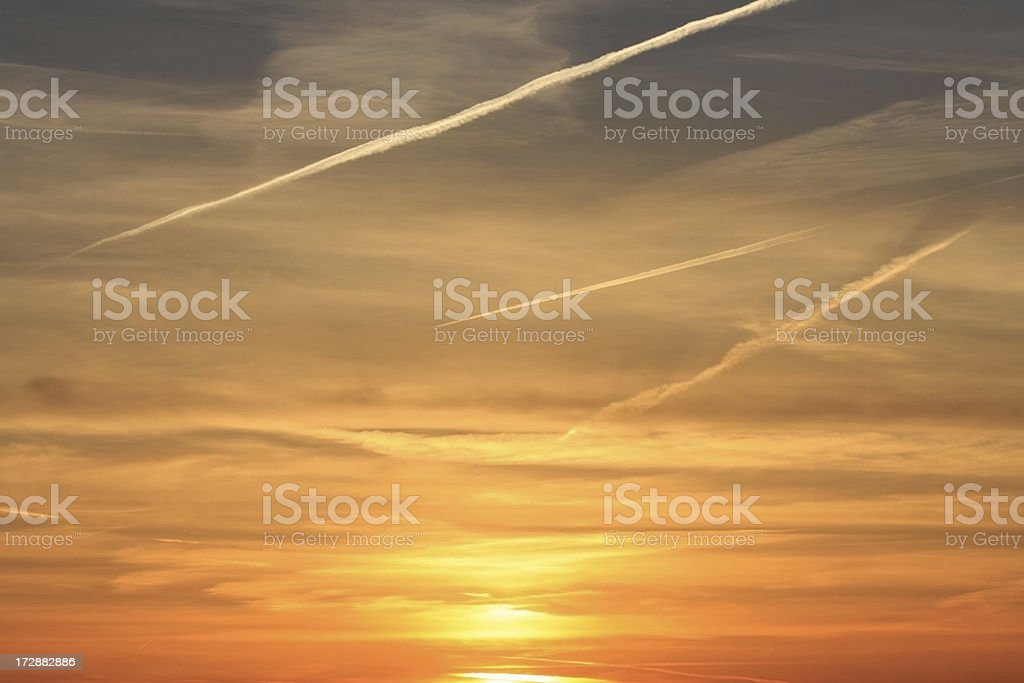 Jet Stream Sunset royalty-free stock photo