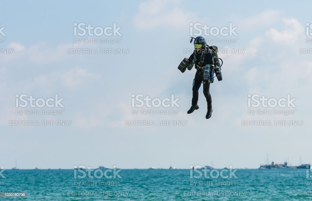 Jet Suit display at the Bournemouth Air Festival stock photo