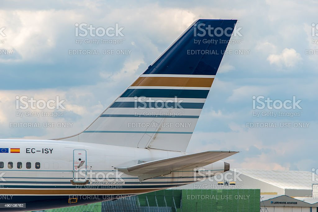 Jet2 (Privilege Style) Boeing 757 tail stock photo