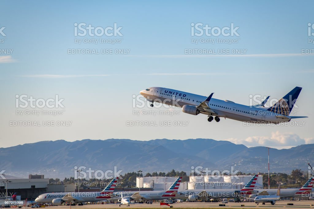 Jetblue Airline Jet Takes Off At Lax Stock Photo More Pictures Of