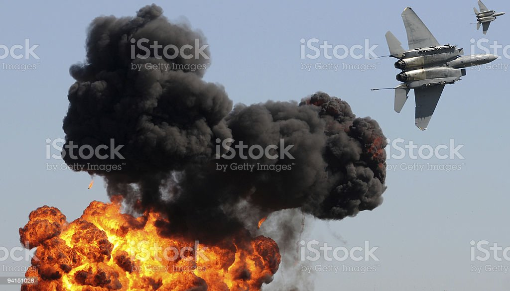 Jetfighters in attack stock photo