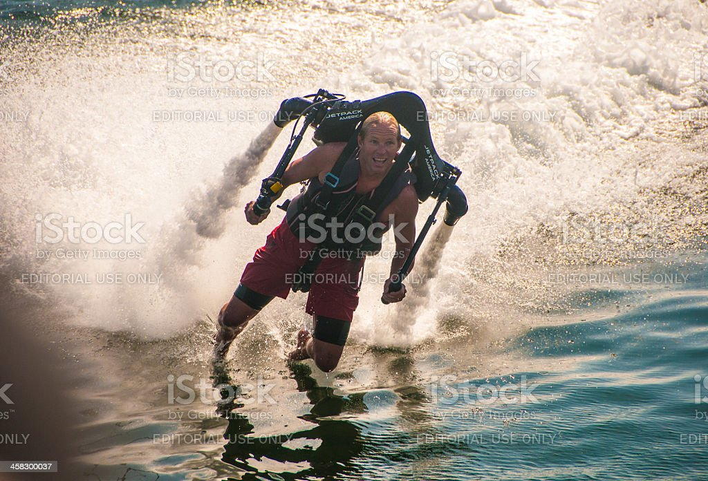 JetLev, the water-propelled man royalty-free stock photo