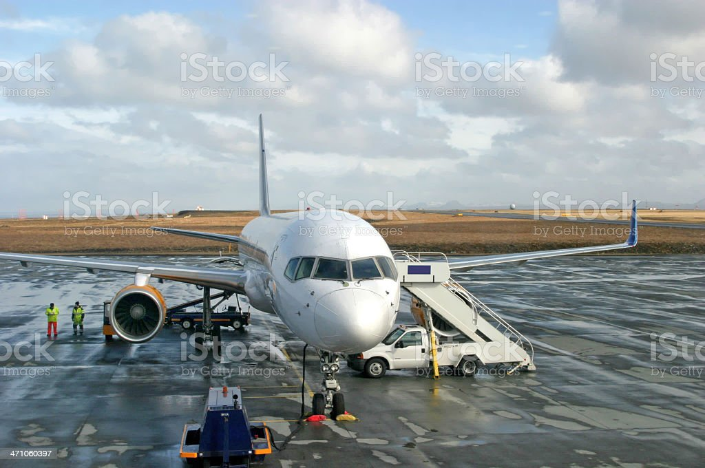 Jetliner On Wet Tarmac stock photo