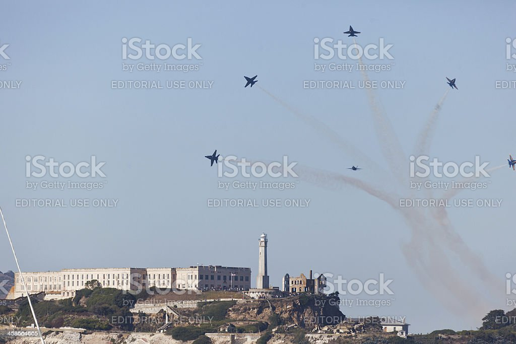 Jets fly pattern over Alcatraz Island during air show royalty-free stock photo