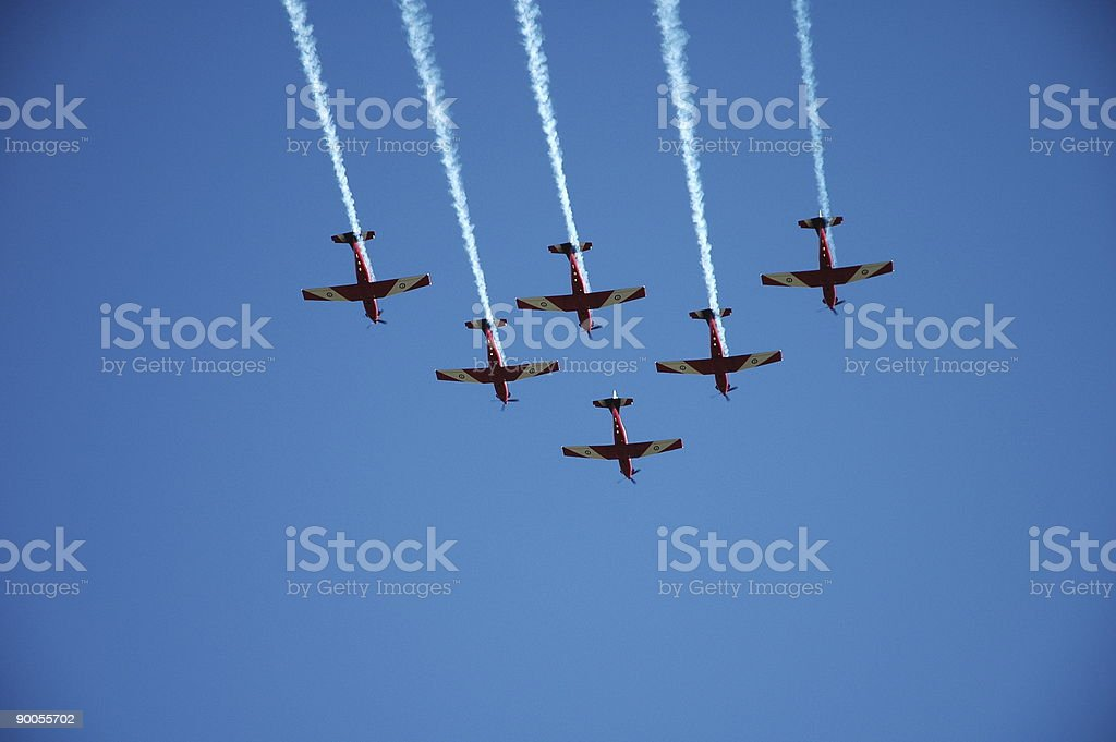 Jets flying in triangle formation stock photo