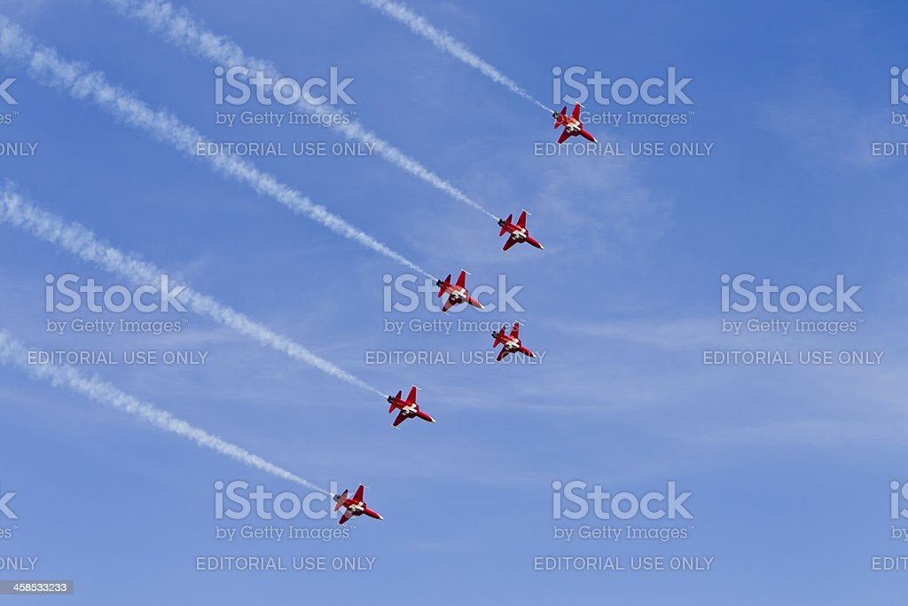 """6 Jets of the """"Patrouille Suisse"""" royalty-free stock photo"""