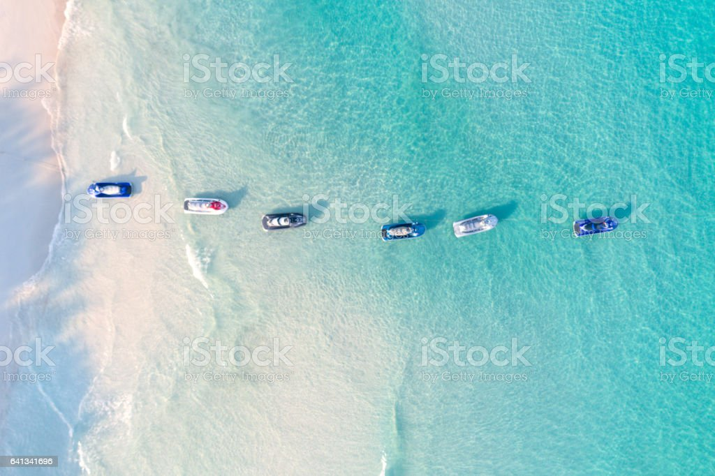 Jetski, Bird's-Eye View, Thailand stock photo