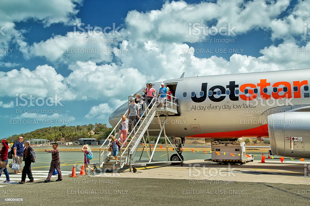 Jetstar Airbus A320 at Hamilton Island, Whitsunday Islands stock photo