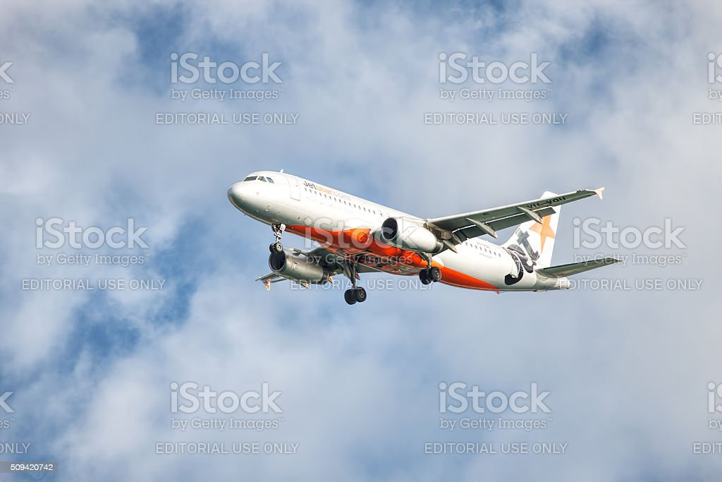 Jetstar Airbus landing at Coolangatta Gold Coast Airport stock photo