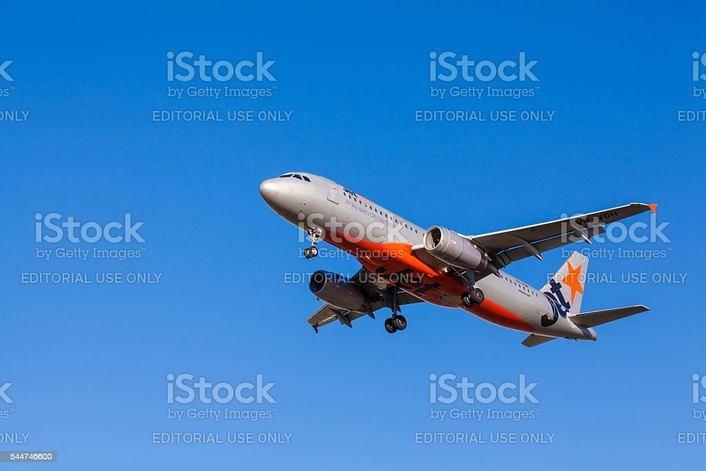 Jetstar aircraft approaching to landing at Melbourne Airport stock photo