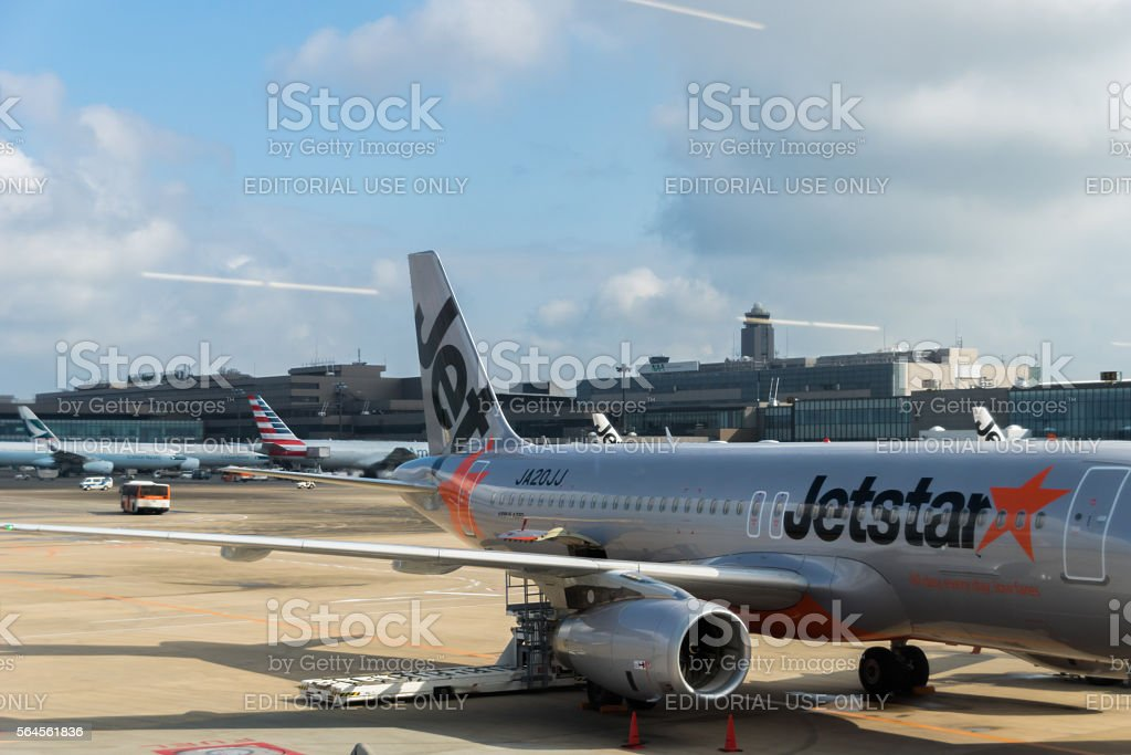 Jetstar Aircraft at Narita International Airport, Japan stock photo