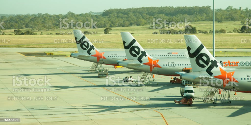 Jetstar Aircraft Tails stock photo