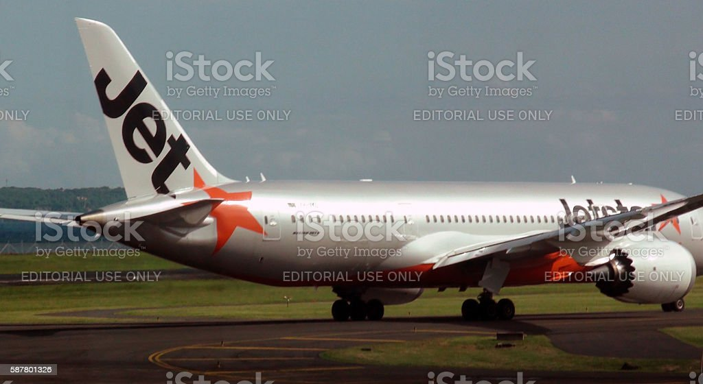 Jetstar Airways Passenger Airplane Taxiing To Take Off.Bali.Airport.Indonesia.Asia stock photo