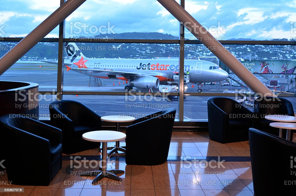 Jetstar Airways plane at Wellington International Airport stock photo