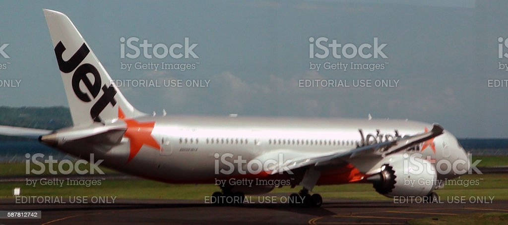 Jetstar Airways Taxiing To Take Off.Ngurah Rai International Airport.Bali.Indonesia.Asia stock photo