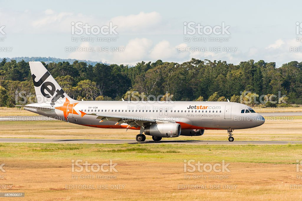 Jetstar Australia passenger airliner taxiing stock photo
