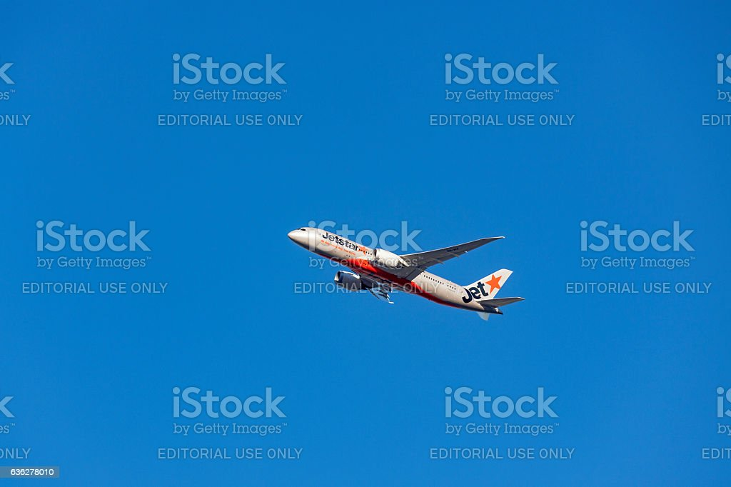 Jetstar Boeing 787-800 Dreamliner VH-VKF in blue sky stock photo