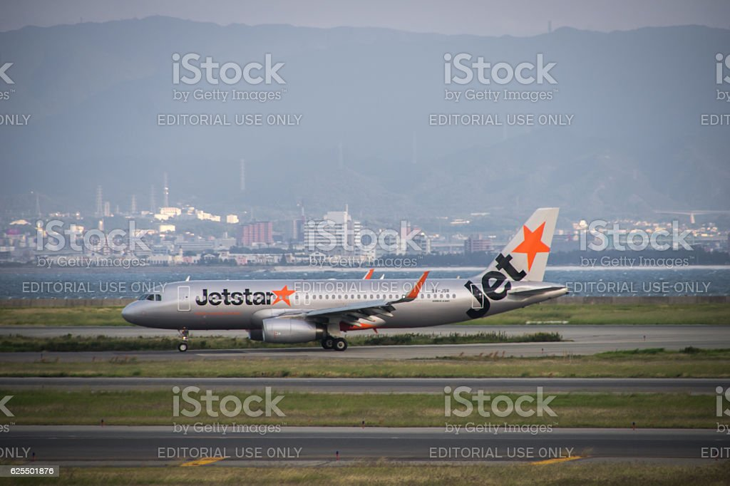 Jetstar Japan airplane at Kansai International Airport (KIX), Osaka, Japan. stock photo