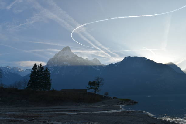 Jetstreams in the sky stock photo