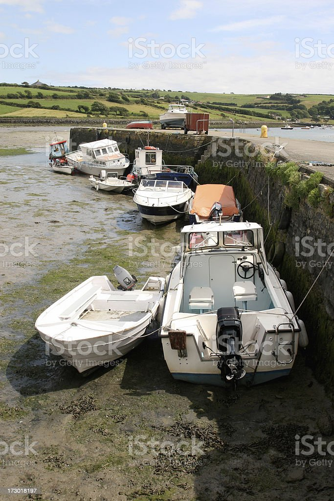 Jetty and Boats, Ring Harbour, Clonakilty stock photo