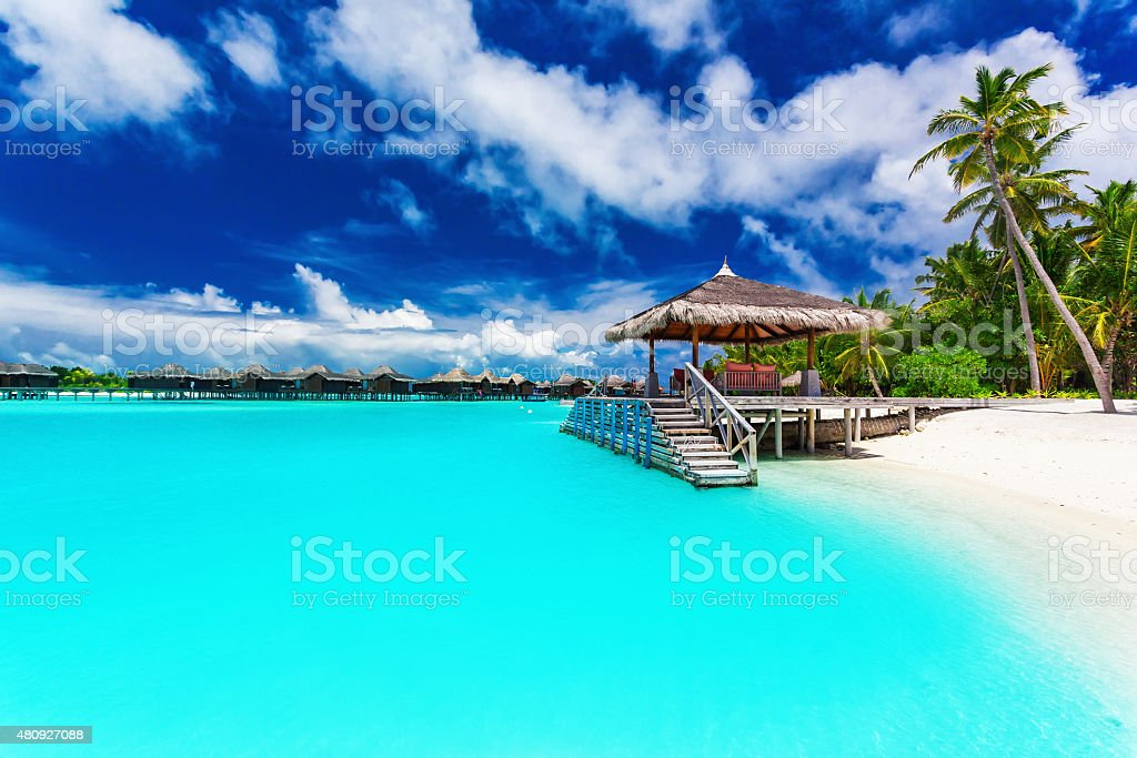 Jetty and palm trees with steps into tropical blue lagoon stock photo