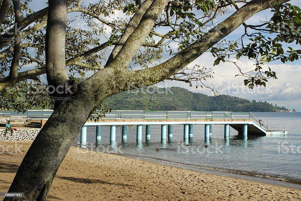 Jetty and Pier on Lake Kivu in Gisenyi Rwanda stock photo