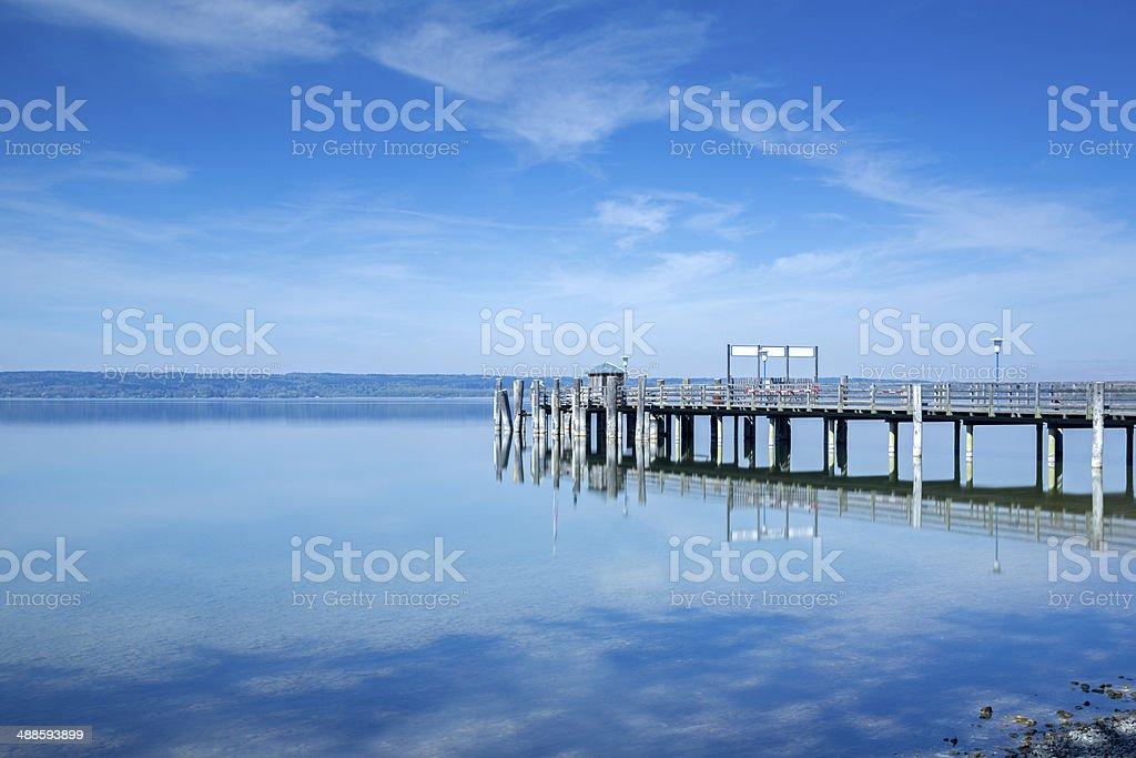Jetty at Ammersee lake, Bavaria, Germany stock photo