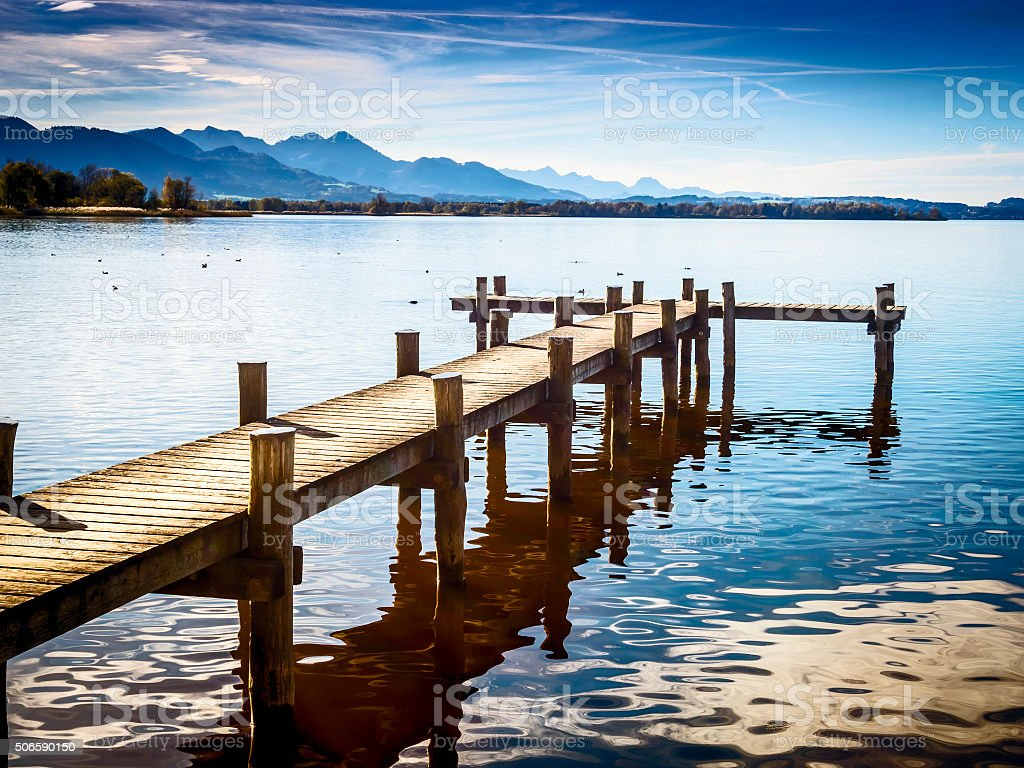Jetty at the Chiemsee stock photo