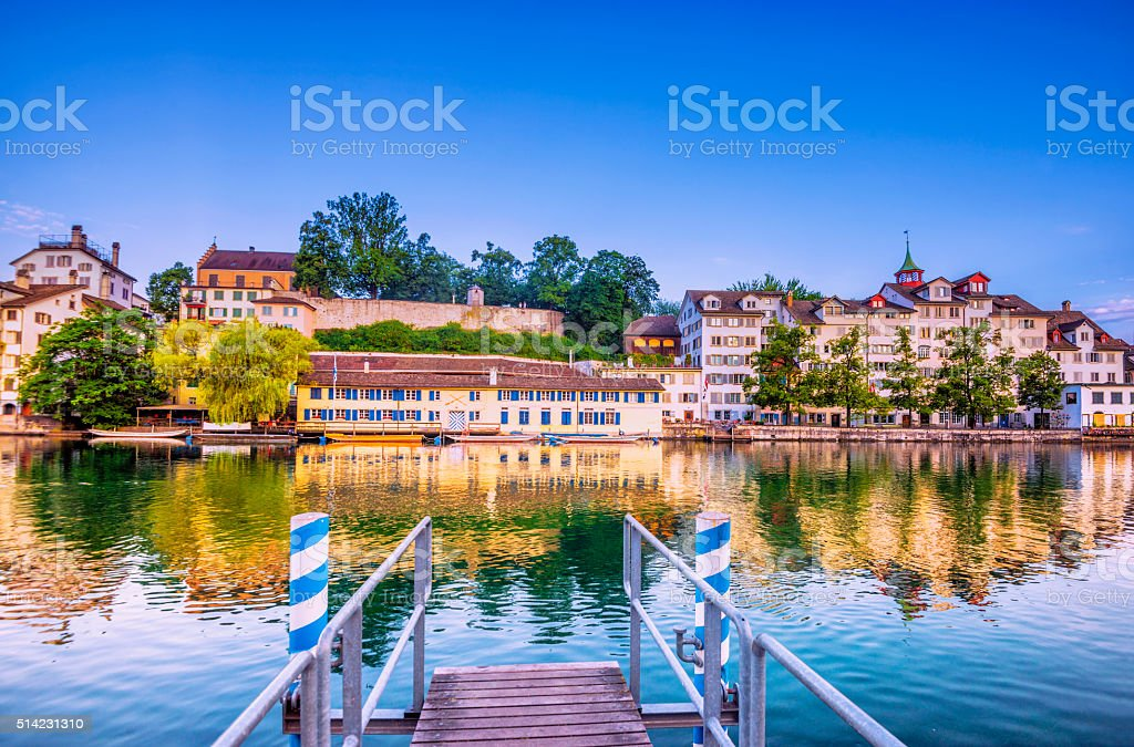 Jetty at the Limmat River in Zurich stock photo