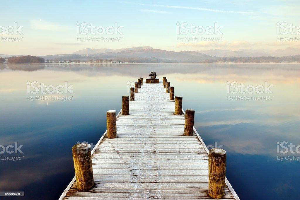 Jetty At Windermere, English Lake District stock photo