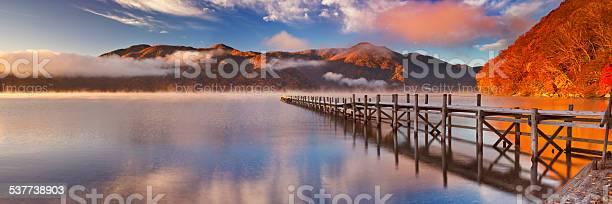 Photo of Jetty in Lake Chuzenji, Japan at sunrise in autumn