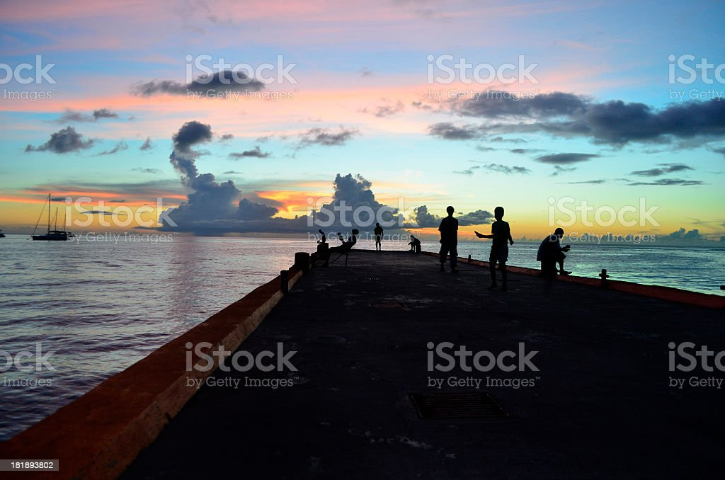 jetty in soufriere st lucia stock photo