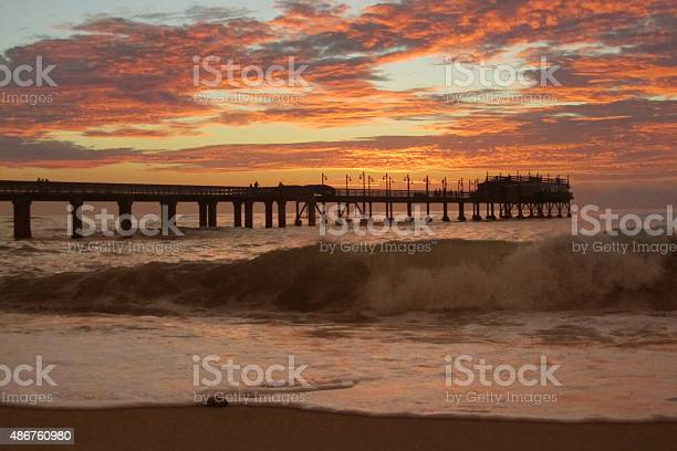 Jetty In Swakopmund During Sunset Stock Photo - Download Image Now