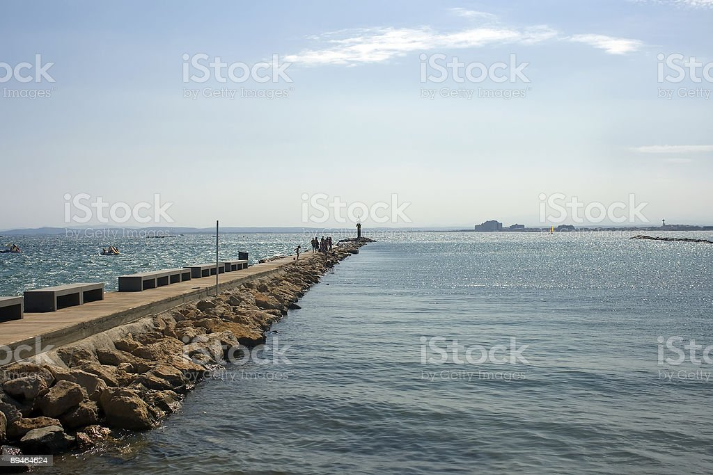 jetty in the sea royalty-free stock photo