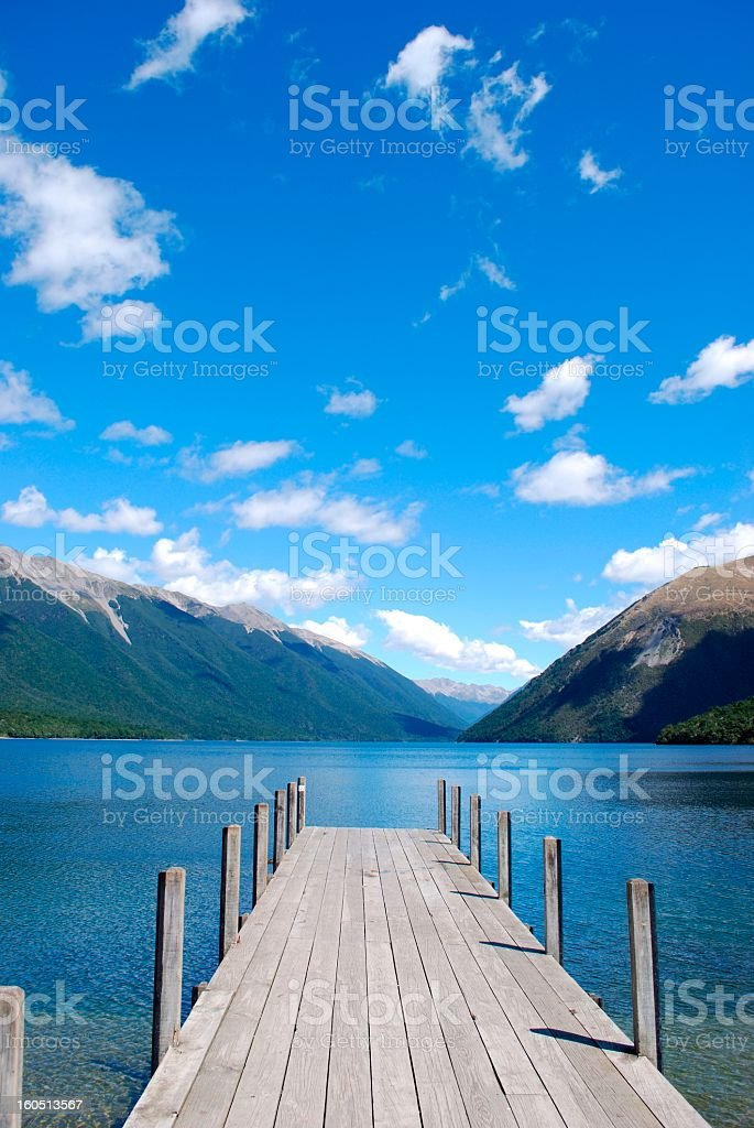 Jetty, Lake Rotoiti, Nelson Lakes National Park, NZ stock photo
