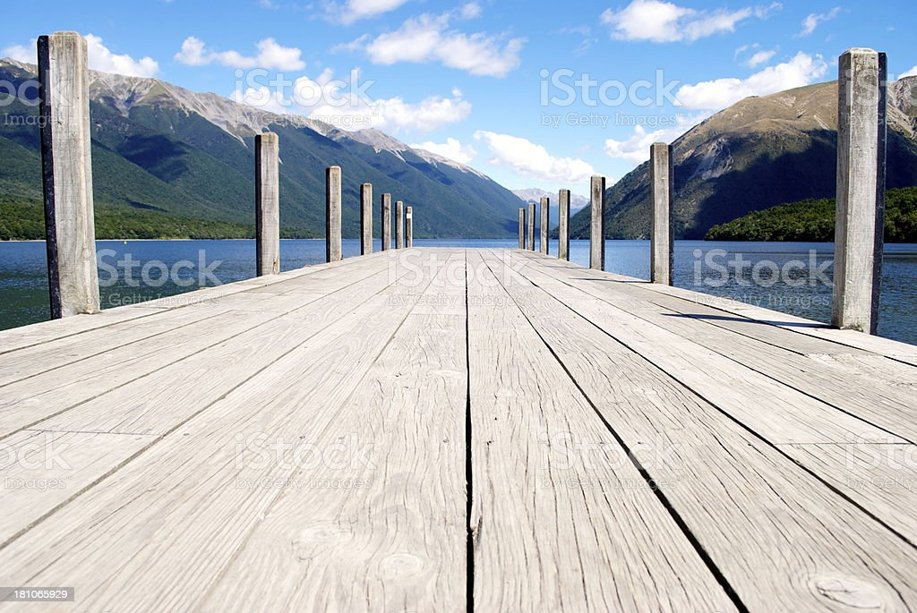 Jetty, Lake Rotoiti, Nelson Lakes National Park, NZ royalty-free stock photo