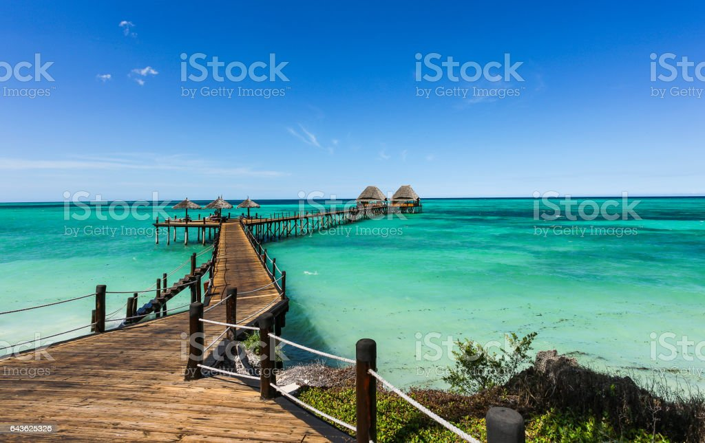 Jetty Lounge Bar on Zanzibar stock photo
