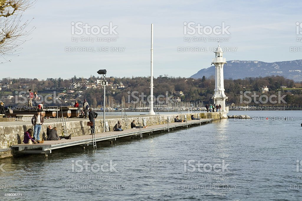 Jetty of Paquis stock photo