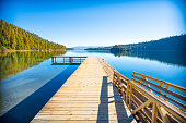 near Lake Tahoe, serene destination, early morning on the lake, refreshing, fresh start, calm water
