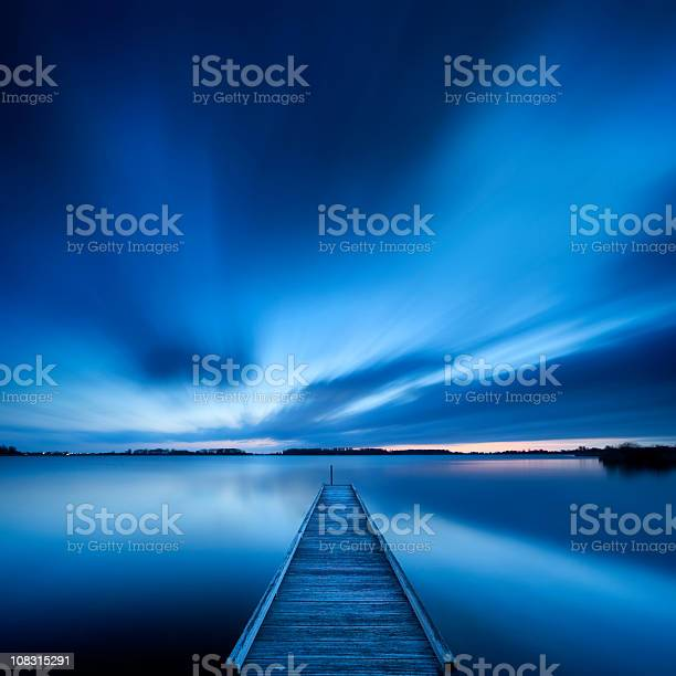 Photo of Jetty on a lake at dawn, near Amsterdam The Netherlands