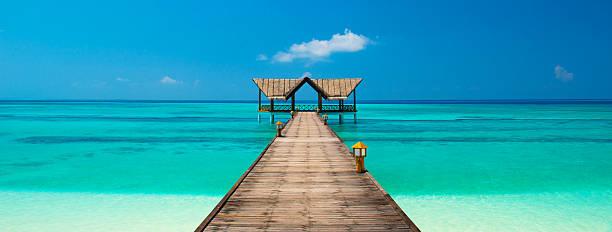 jetty on a tropical beach stock photo