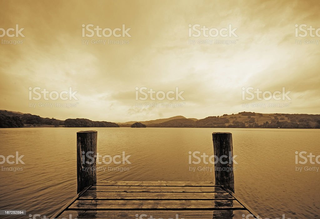 Jetty on Coniston Water royalty-free stock photo