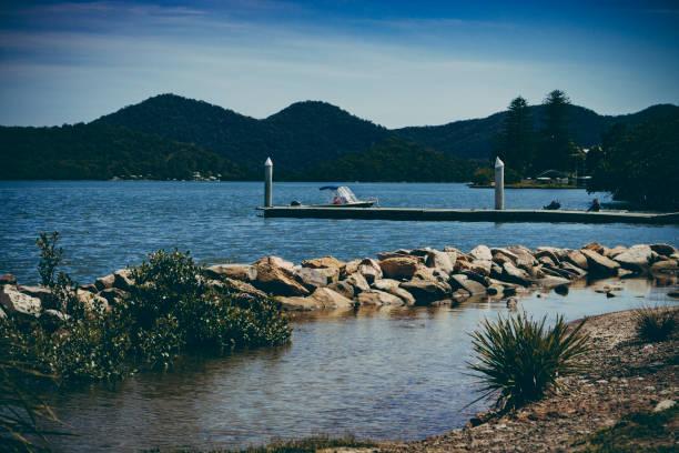 Jetty on Hawksebury River, NSW, Australia stock photo