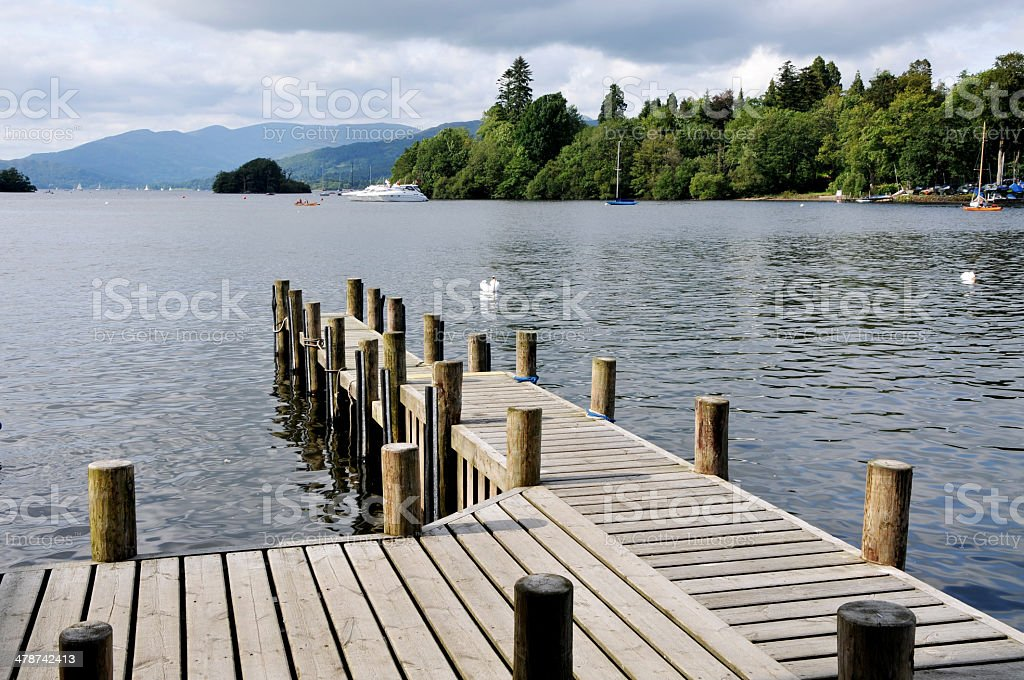 Jetty on Lake Windermere, Cumbria, UK royalty-free stock photo